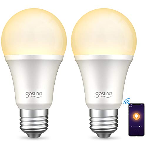 Gosund Smart Light Bulb Works with Alexa Google Home Siri, Dimmable WiFi LED Light Bulbs, E26 A19 Warm White 2700K Bulb, No Hub Required, 8W (75W Equivalent), 2 Pack