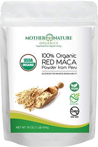 Organic Red Maca Powder - Peruvian Grown Maca Root, Gelatinized for Superior Bioavailability (1 lb, 16oz) - Natural, Vegan, Non-GMO & Gluten-Free