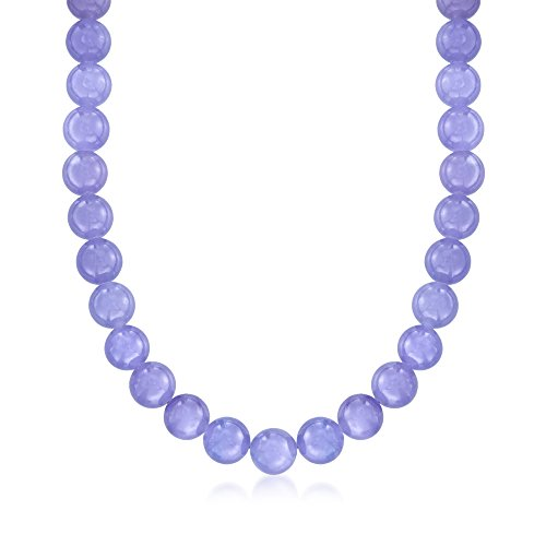 Ross-Simons 10mm Lavender Jade Bead Necklace With 14kt Yellow Gold. 18 inches