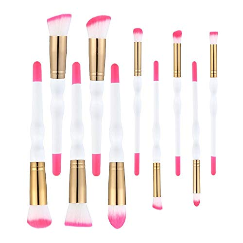 MEISINI Base de couleur double poignée en bois pinceau de maquillage pour les yeux haute lumière Shadow Set Eye Shadow Foundation pinceau pour le maquillage des lèvres cils, autre