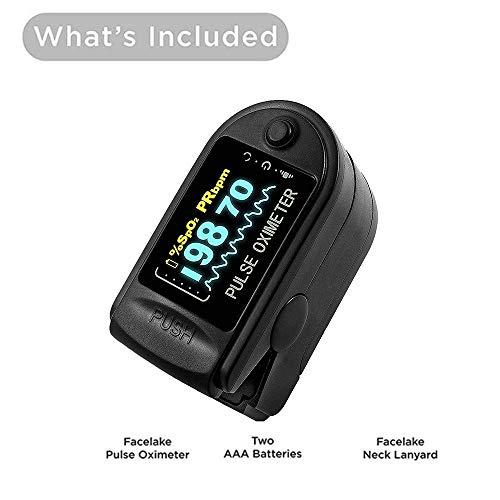 LLGHT Finger Tip Pulsoximeter, Pulse Oximtero for Thuisgebruik bloed zuurstof saturatie en hartslag monitoring via vingertop - Met gratis Lanyard & Alkaline batterijen