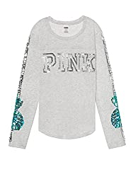 Pink Bling Football T-Shirt Long Sleeve Crew Neck Sequins