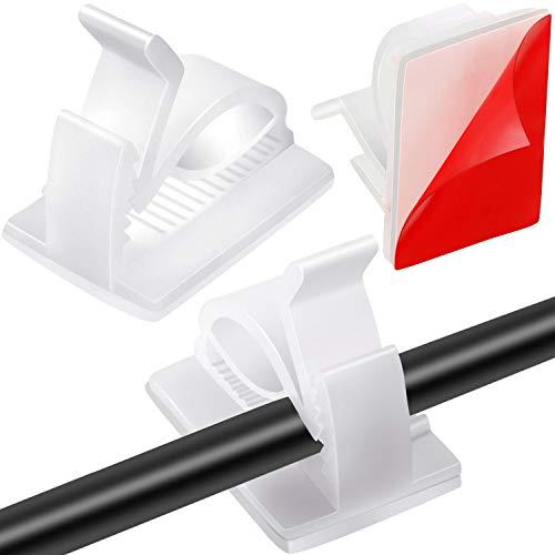 Maitys 60 Stücke Mini Outdoor Kabel Clips mit Klebebändern Lichtclips Dekoration Clips Selbstklebende Haken Drahthalter für Lichterketten (Weiß, Klein)
