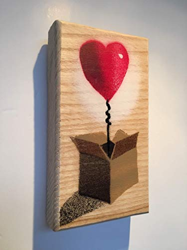Heart Balloon in Box Art painting Stencil | Lockdown Gift for loved one | Anniversary for Her | Birthday Gift for Mum | For Wife | Wedding Spray painted Handmade picture on Wood 8 x 14cm