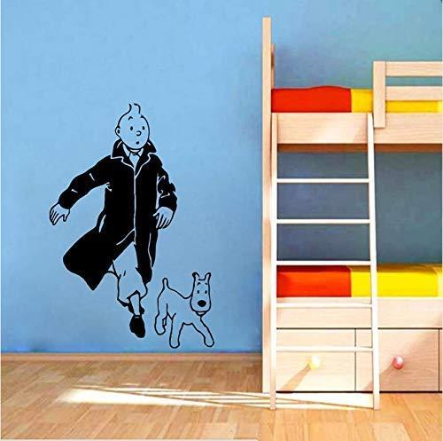 Tintín Con Perro De Dibujos Animados Vinilo Pared Pegatina Habitación Infantil Pared Arte Mural Calcomanías Tintín Vinilo Cartel Pared Arte Decoración 84X56 Cm