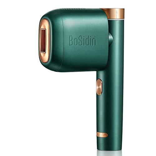 BoSidin IPL Haarentfernungsgerät Dauerhafte Schmerzlos Haarentfernung Geräte zu Hause mit Kühlpflegefunktion, inkl. 3 Aufsätze für Körper, Gesicht, Bikini-Zone (Grün)