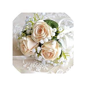 Silk Flower Arrangements Bridesmaid Bouquet Real Rose Flowers Wedding Bouquet Hand Made Rose with White Baby Breath Artificial Flower Wedding Bouquet,Brown