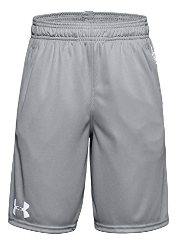 Under Armour Boy's Shorts (Gray/White, Large)