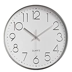 HZDHCLH Wall Clock 12 inch Silent Non Ticking Modern Wall Clocks Battery Operated Clocks for Kitchen Bedroom Living Room Decor(White-Silver)