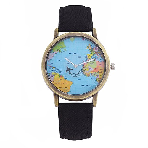 Fenkoo - Orologio da donna al quarzo, con cartina del mondo e lancetta a forma di aereo, Nero