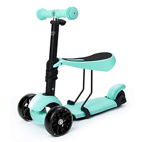QBLDX Kick Scooter Patinetes para Niños con Asiento Extraíble Patinete para Niños de Altura Ajustable 3 en 1 con Ruedas Ligeras Patinetes para Niños Pequeños Adecuado para Niños de 1 a 8 años,Green