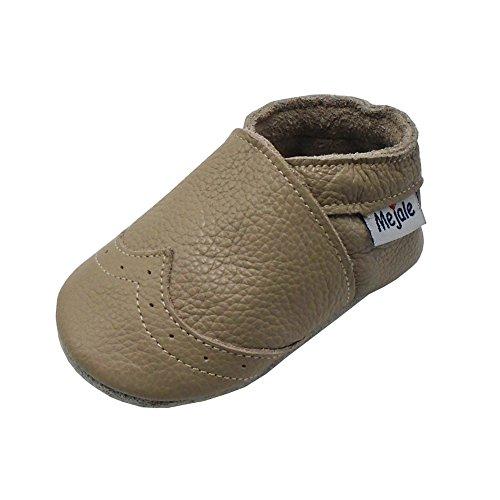 Mejale Weiche Sohle Leder Babyschuhe Lauflernschuhe Krabbelschuhe Kleinkind Kinderschuhe Hausschuhe(Bräunen,12-18 Monate)