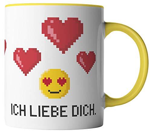vanVerden Tasse - Ich liebe dich Pixel Emoji - beidseitig Bedruckt - Geschenk Idee Valentinstag Kaffeetassen mit Spruch, Tassenfarbe:Weiß/Gelb