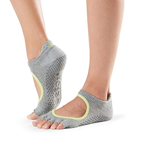 Toesox Half Toe Bellarina Calcetines de Yoga, Unisex Adulto, Gris (Heather) / Verde (Lime), S
