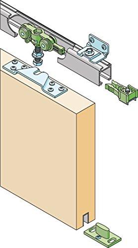 RONIN FURNITURE FITTINGS®Schiebetürbeschlag 40 KG Alu-Schiene 110cm Schiebetür Wandmontage Türbreite 51-60 cm, inkl. 3 Winkel zur Wandmontage