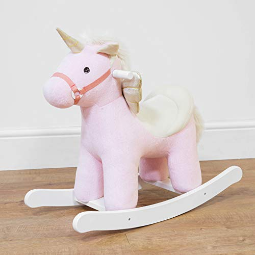 Silla mecedora de madera con diseño de unicornio, color rosa, 61 cm