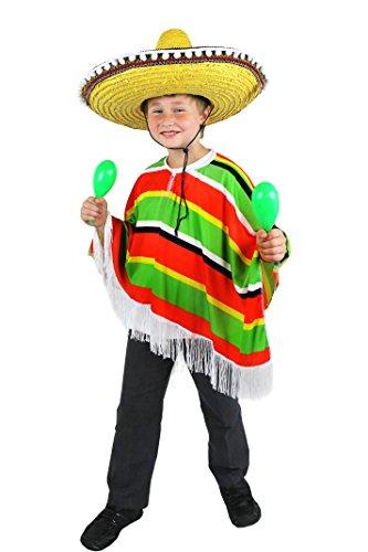 I LOVE FANCY DRESS LTD Déguisement du Parfait Petit Méxicain avec ce Poncho Multicolore pour Enfant. Ideal pour Les fêtes de Fin d'école ou Les départs en vancance.