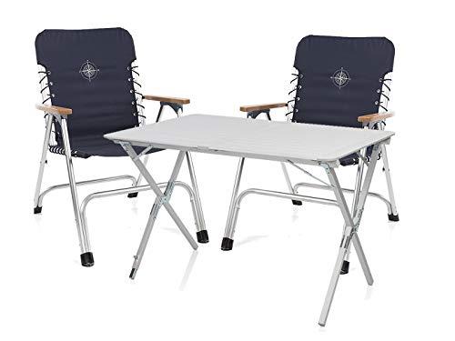 CAMPART TRAVEL Luxus Camping Set - Klappbarer Alu Campingtisch höhenverstellbar mit Zwei faltbaren Regiestühlen leicht & einfach zu verstauen!