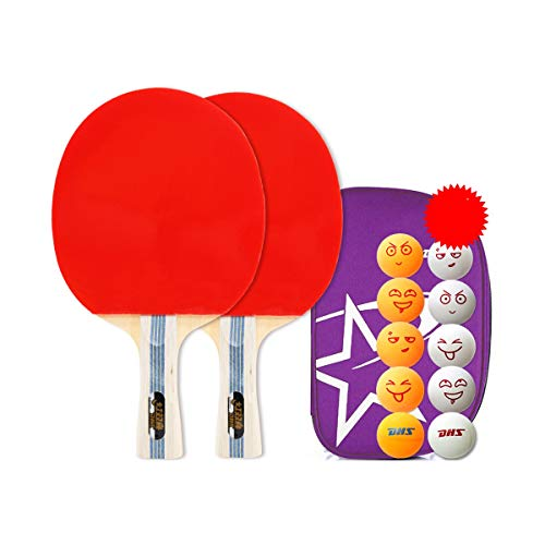 Lowest Price! 8HAOWENJU Table Tennis Racket, 1 2 Packs, Horizontal Straight Shot, Double Shot, (Size...