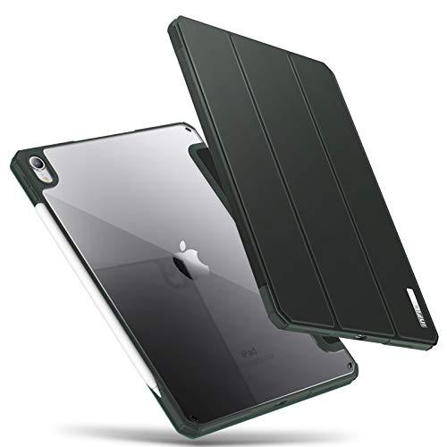 INFILAND Custodia per iPad PRO 11 2018 Version, Bordo in TPU, Retro Traslucido Cover, Auto Svegliati/Sonno,Verde Scuro