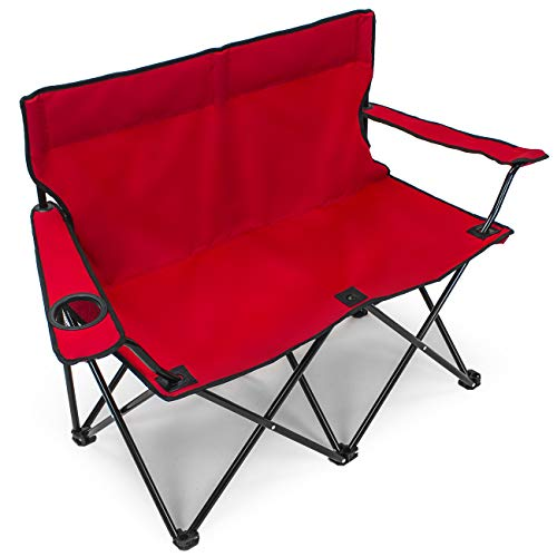 Sorbus Double Folding Chair with Cup Holder Cooler, Foldable Frame, Portable Carry Bag, Great Loveseat Outdoor Chair for Camping, Sporting Events, Travel, Backyard, Patio, etc (Double Chair)