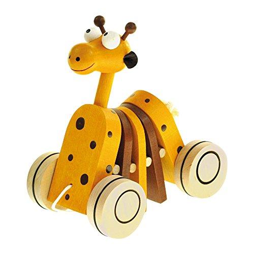 Bino & Mertens 90987 Mertens Ziehtier Giraffe, Spielzeug für Kinder ab 1 Jahr, Kinderspielzeug (Spiel für Kinder als Begleiter der ersten Schritte, lustiges Giraffen-Design, von Pädagogen empfohlenes Holzspielzeug), Gelb