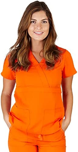 Ultra Soft Brand Scrubs Premium Womens Junior Fit 3 Pocket Mock Wrap Scrub Top Orange 38483 product image