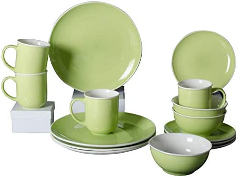 Xiteliy Ceramic Dinner Plate Sets Plates Bowls Mugs 4 Piece Service For 4 16 Green product image