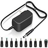 18V 2A 1A Power Supply 36W Switching AC DC Adapter 10 Multi Jacks Universal Adaptor Regulated 18Volt 1.8A 1.6A 1.5A 1.2A 800mA 500mA Charger 6.5FT Power Cord Plug ETL Listed Transformer