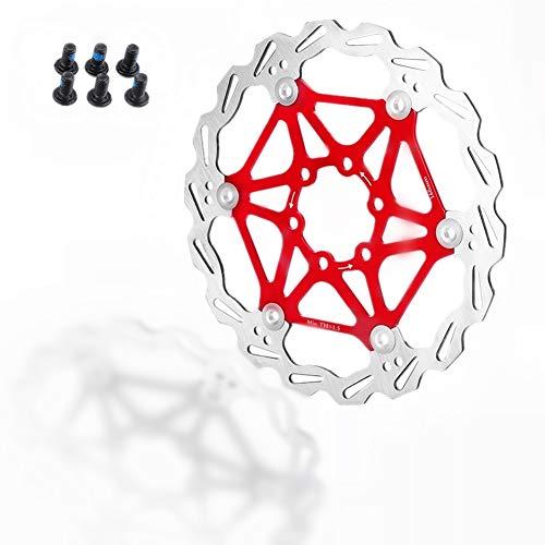 Dioche 160/180 / 203mm Bremsscheibe, Mountainbike Typ Schwimmende Bremsscheibe Fahrradbremsbelag Radfahren Zubehör(180mm-Rot)