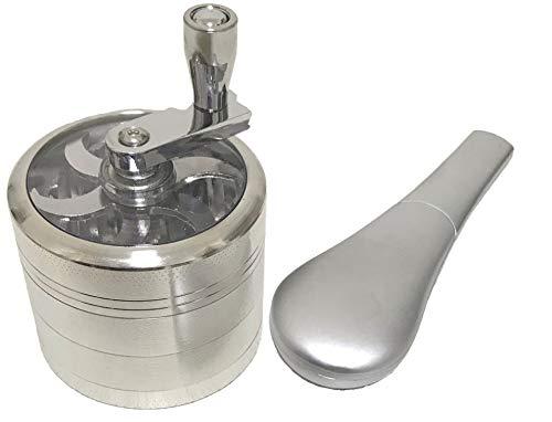 [CFT TIME]金属 手回し タバコ 研ぐ器 4層 刻み 研磨器 グラインダー ミキサー ハンド パイプ (シルバー)