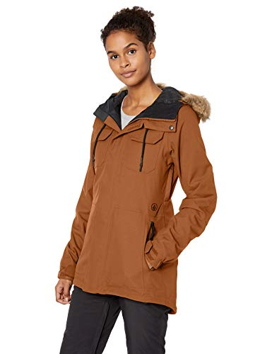 Volcom Women's Shadow Insulated Snowboard Ski Winter Hooded Jacket, Copper, Medium