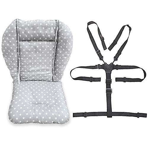 1 housse de chaise haute pour bébé avec sangles (système à 5 points), gris tendance