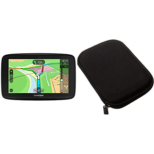 TomTom Via 53 EU-Traffic Navigationsgerät & Amazon Basics Hartschalenetui für 5-Zoll-Navigationsgeräte, schwarz