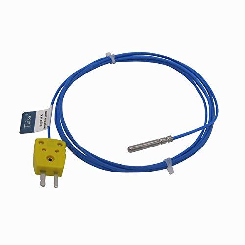 Taiss/Wasserdichte K-Type, für K-Sonden Thermoelementsensor & Messgerät Temperaturregler Mit Stecker, lange Sonde 30 MM Temperaturbereich von -50 bis 200 ° C TA-6340-W-C