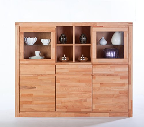 Highboard XL Sylt Kernbuche massiv geölt