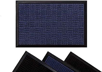 LucaHome - Felpudo Columbia Azul Cuadrados Absorbente Entrada a casa, Alfombra para Exterior e Interior, Impermeable, Lavable, Anti bacterias, Acolchado, Antideslizante, Cocina, Dormitorio…