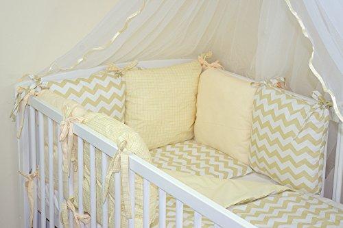 Parure de lit bébé ENSEMBLE DE 8 PIÈCES avec Tour de lit 6 coussins (27 couleurs) (13)