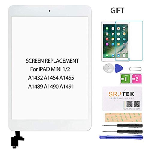 SRJTEK Scherm Vervanging voor IPad Mini 1 2 A1432, A1454, A1455, A1489, A1490, Touch Screen Digitizer Glazen lens met IC Chip Flex Cable Assembly(wit)