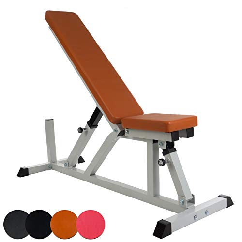 ScSPORTS Hantelbank verstellbar mit extra Langer Rückenlehne, variabel einstellbar - flach, schräg, 90 Grad, bis 200 kg belastbar, Rot-Braun