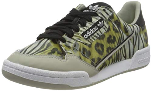 adidas Continental 80 W, Zapatillas de Gimnasio Mujer, Core Black Metal Grey Signal Green, 39 1/3 EU