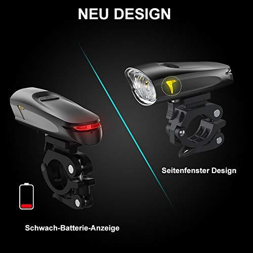 LIFEBEE LED Fahrradlicht, USB Fahrradbeleuchtung Fahrradlicht Vorne Rücklicht Set, Wasserdicht Fahrradlichter Set Fahrrad Licht Fahrradleuchtenset Fahrradlampe Frontlicht mit 2 Licht-Modi - 6