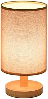 KMYX Modern Minimalist Ideas Woody Table Lamp Burlap Shade Warm Bedroom Bedside Lamp Dorm Room Reading Light