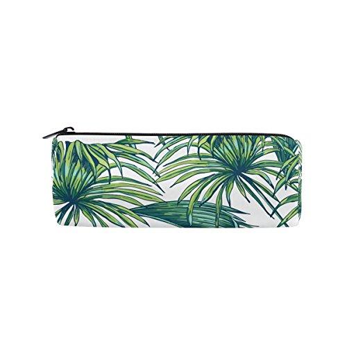 KUWT Pencil Bag Tropical Jungle Palm Leaves, Pencil Case Pen Zipper Bag Pouch Holder Makeup Brush Bag for School Work Office