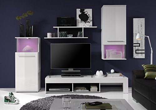 Wohnwand – Modern in weiß Bild 3*