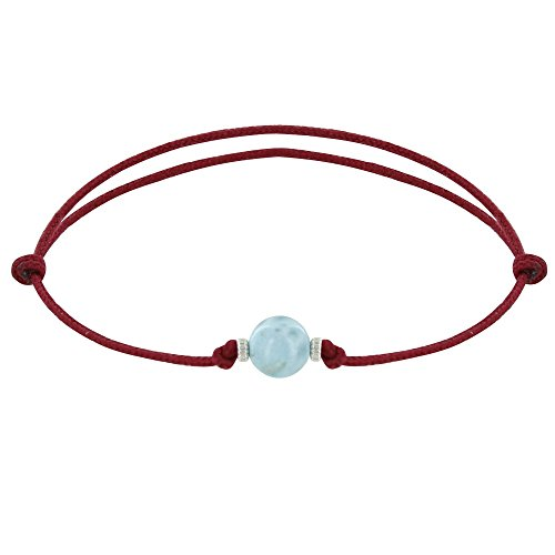 Schmuck Les Poulettes - Armband Synthetisch Link Larimar Perle und Zwei Silber Ringe - Rote