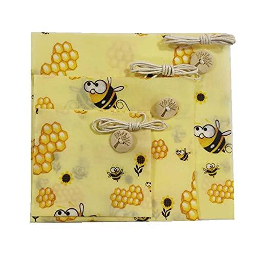 GZQF Paño de cera de abeja: 3 piezas con botones + cuerda de algodón para el embalaje natural de la cera.