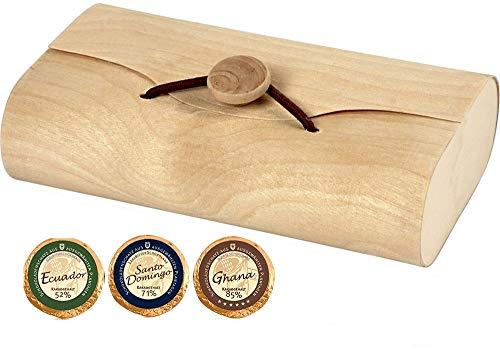 24 Edel Schokoladen Golddublonen 3 Sorten Zartbitter DreiMeister im Kuvert aus Holz