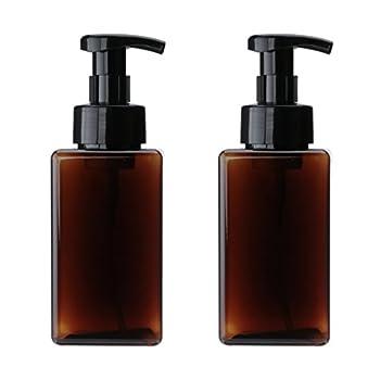 UVIVIU 450ml 15oz  Plastic Foaming Soap Dispensers,Square Foam Soap Liquid Containers,Refillable Empty Pump Bottle  Brown 2 Pcs