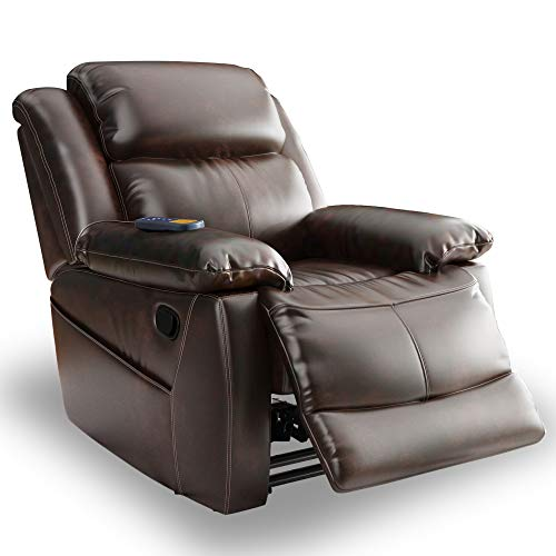DingFSDong PU Leather Heated Massage Recliner Sofa Ergonomic Lounge with 8 Vibration Points